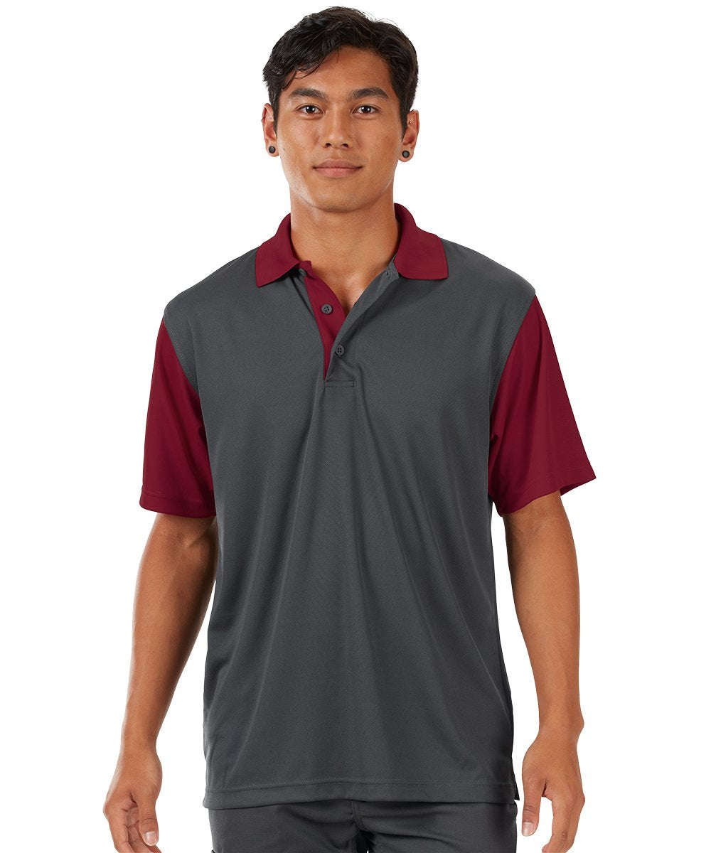 Performance Knit® Color-Block Polo (Charcoal/Burgundy) as shown in the UniFirst Rental Catalog.