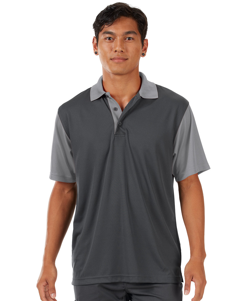 Performance Knit® Color-Block Polo (Charcoal/Grey) as shown in the UniFirst Rental Catalog.