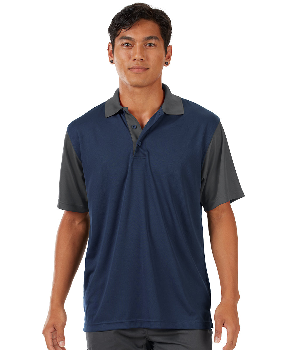 Performance Knit® Color-Block Polo (Navy/Charcoal) as shown in the UniFirst Rental Catalog.