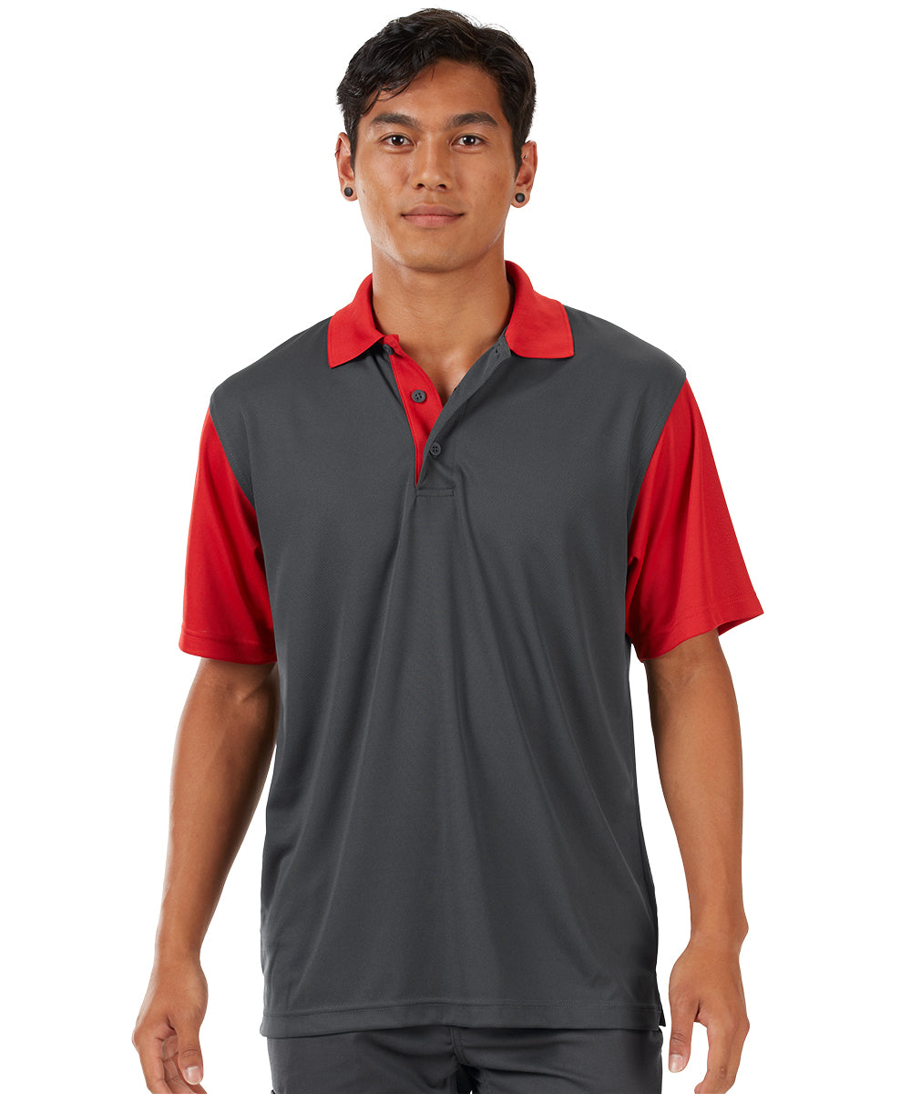 Performance Knit® Color-Block Polo (Charcoal/Red) as shown in the UniFirst Rental Catalog.