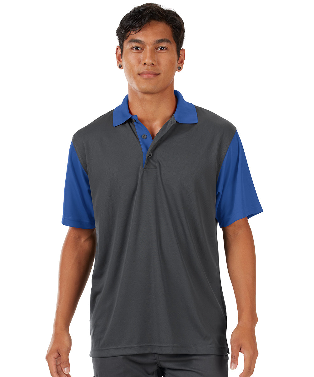 Performance Knit® Color-Block Polo (Charcoal/Royal) as shown in the UniFirst Rental Catalog.
