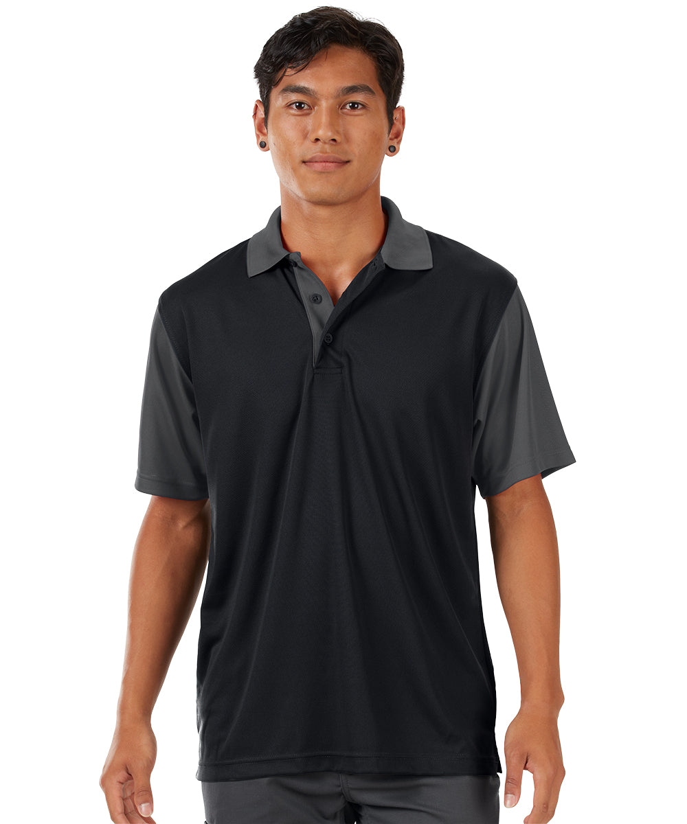 Performance Knit® Color-Block Polo (Black/Charcoal) as shown in the UniFirst Rental Catalog.