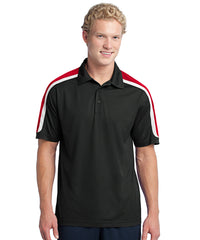 Black/Red Mens Sport-Tek® Tricolor Micro Piqué Polos Shown in UniFirst Uniform Rental Service Catalog