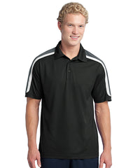 Black/Charcoal Men's Sport-Tek® Tricolor Micro Piqué Polos Shown in UniFirst Uniform Rental Service Catalog