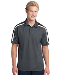 Grey/Black Men's Sport-Tek® Tricolor Micro Piqué Polos Shown in UniFirst Uniform Rental Service Catalog
