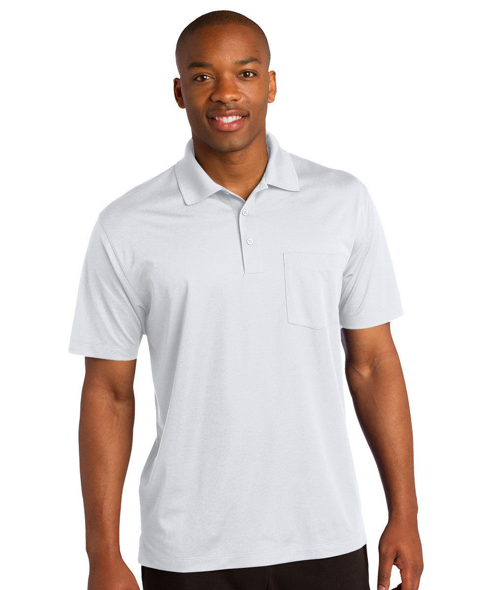 White Sport-Tek® Micropiqué Polo with Pocket Shown in UniFirst Uniform Rental Service Catalog