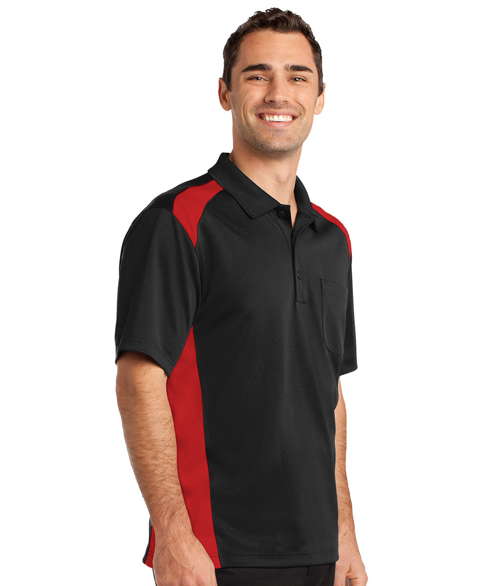 Black/Red Two-Color Snag-Proof Pocket Polo Shirts Shown in UniFirst Uniform Rental Service Catalog