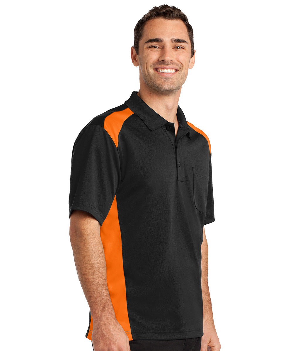 Black/Orange Two-Color Snag-Proof Pocket Polo Shirts Shown in UniFirst Uniform Rental Service Catalog