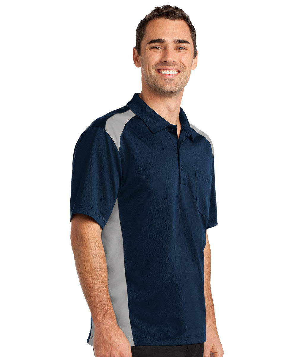 Navy/Grey Two-Color Snag-Proof Pocket Polo Shirts Shown in UniFirst Uniform Rental Service Catalog