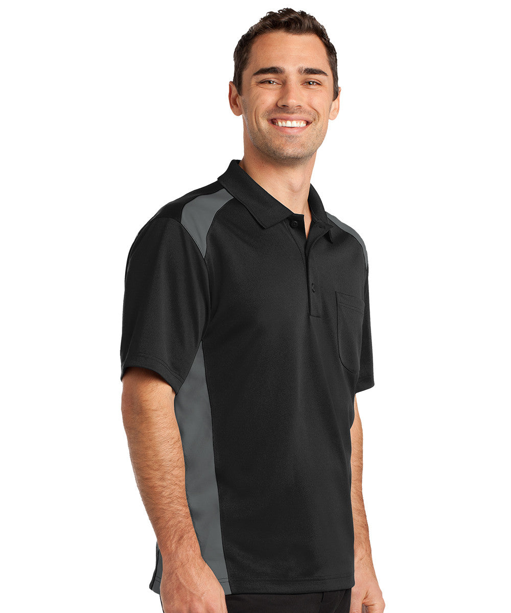 Black/Charcoal Two-Color Snag-Proof Pocket Polo Shirts Shown in UniFirst Uniform Rental Service Catalog