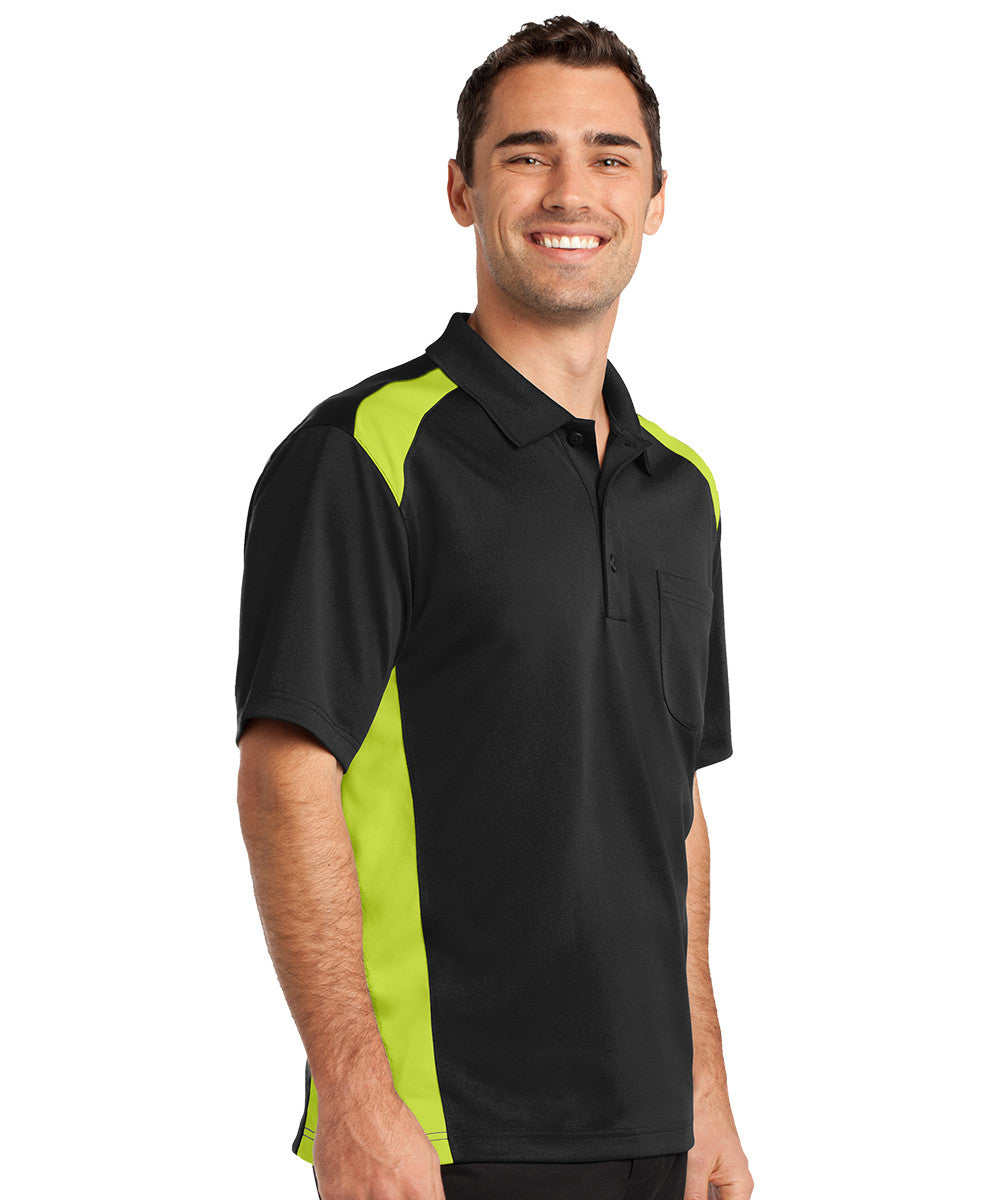 Black/Lime Two-Color Snag-Proof Pocket Polo Shirts Shown in UniFirst Uniform Rental Service Catalog