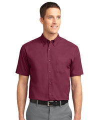 Men's short sleeve Easy Care Shirts (Burgundy) as shown in the UniFirst Uniform Rental Catalog