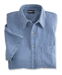 Light Blue Men's Open Collar Denim Shirts Shown in UniFirst Uniform Rental Service Catalog