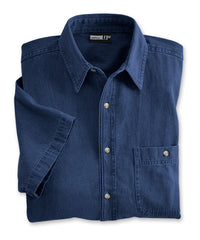 Dark Blue Men's Open Collar Denim Shirts Shown in UniFirst Uniform Rental Service Catalog