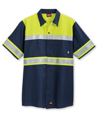 ANSI Class 1 High Visibility Short Sleeve Ripstop Work Shirts