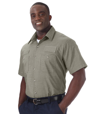 Tan UniWeave® Exclusive MicroCheck Shirts  Shown in UniFirst Uniform Rental Service Catalog