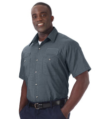 Slate     UniWeave® Exclusive MicroCheck Shirts  Shown in UniFirst Uniform Rental Service Catalog
