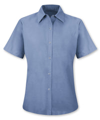 Light Blue UniFirst® Women's Pocketless Food Service Shirts  Shown in UniFirst Uniform Rental Service Catalog