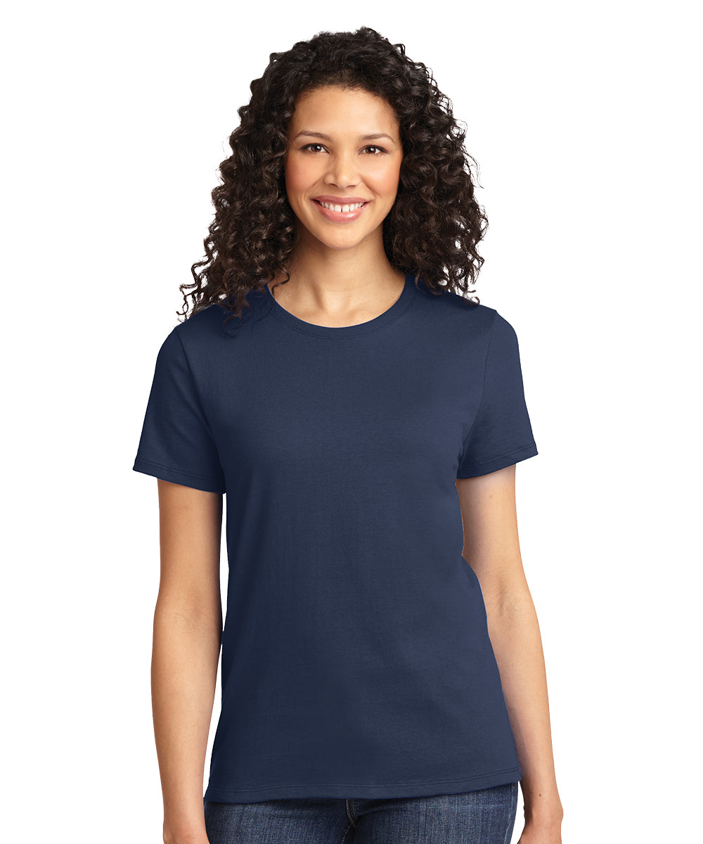 Short Sleeve 100% Cotton Classic Women's T-Shirts (Navy) as shown in the UniFirst Uniform Rental Catalog.