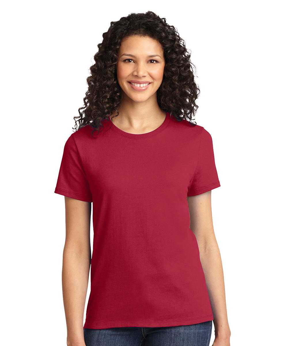 Short Sleeve 100% Cotton Classic Women's T-Shirts (Red) as shown in the UniFirst Uniform Rental Catalog.
