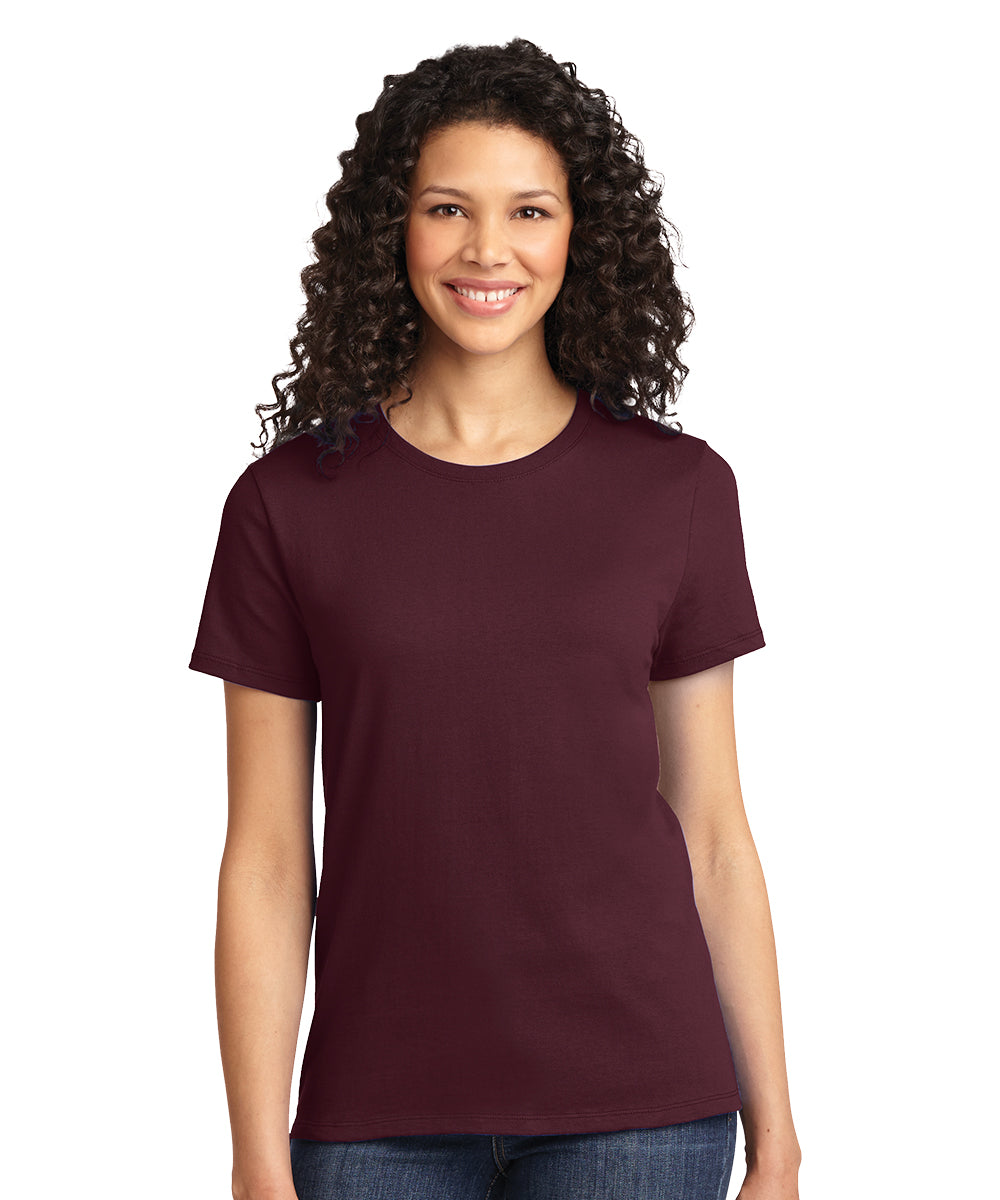 Short Sleeve 100% Cotton Classic Women's T-Shirts (Maroon) as shown in the UniFirst Uniform Rental Catalog.