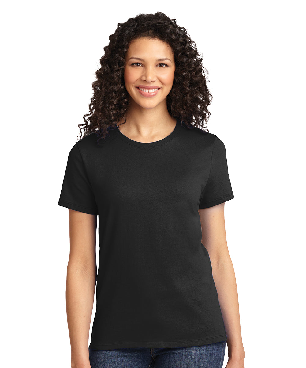 Short Sleeve 100% Cotton Classic Women's T-Shirts (Black) as shown in the UniFirst Uniform Rental Catalog.