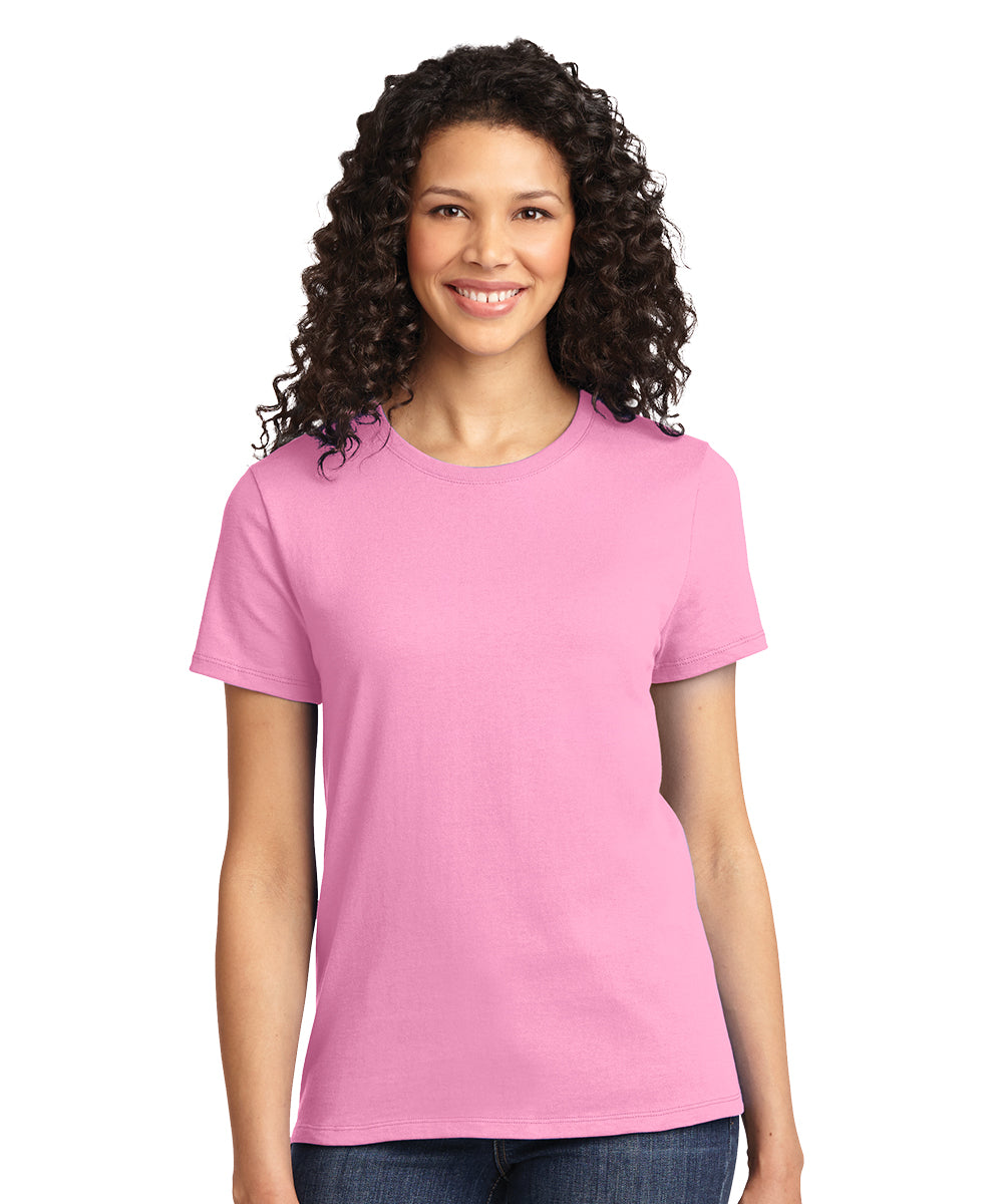 Short Sleeve 100% Cotton Classic Women's T-Shirts (Pink) as shown in the UniFirst Uniform Rental Catalog.