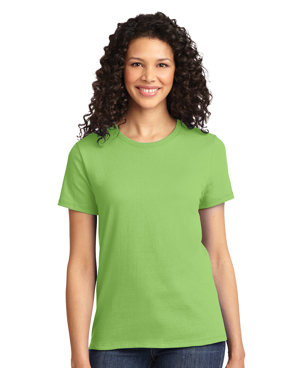 Short Sleeve 100% Cotton Classic Women's T-Shirts (Lime Green) as shown in the UniFirst Uniform Rental Catalog.