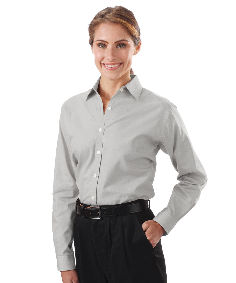 Grey Women's Pinpoint Dress Shirts Shown in UniFirst Uniform Rental Service Catalog