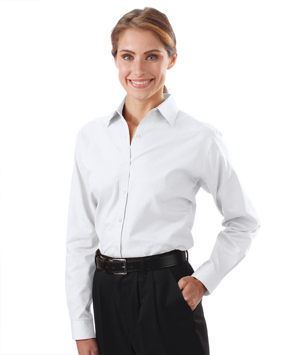 White Women's Pinpoint Dress Shirts Shown in UniFirst Uniform Rental Service Catalog