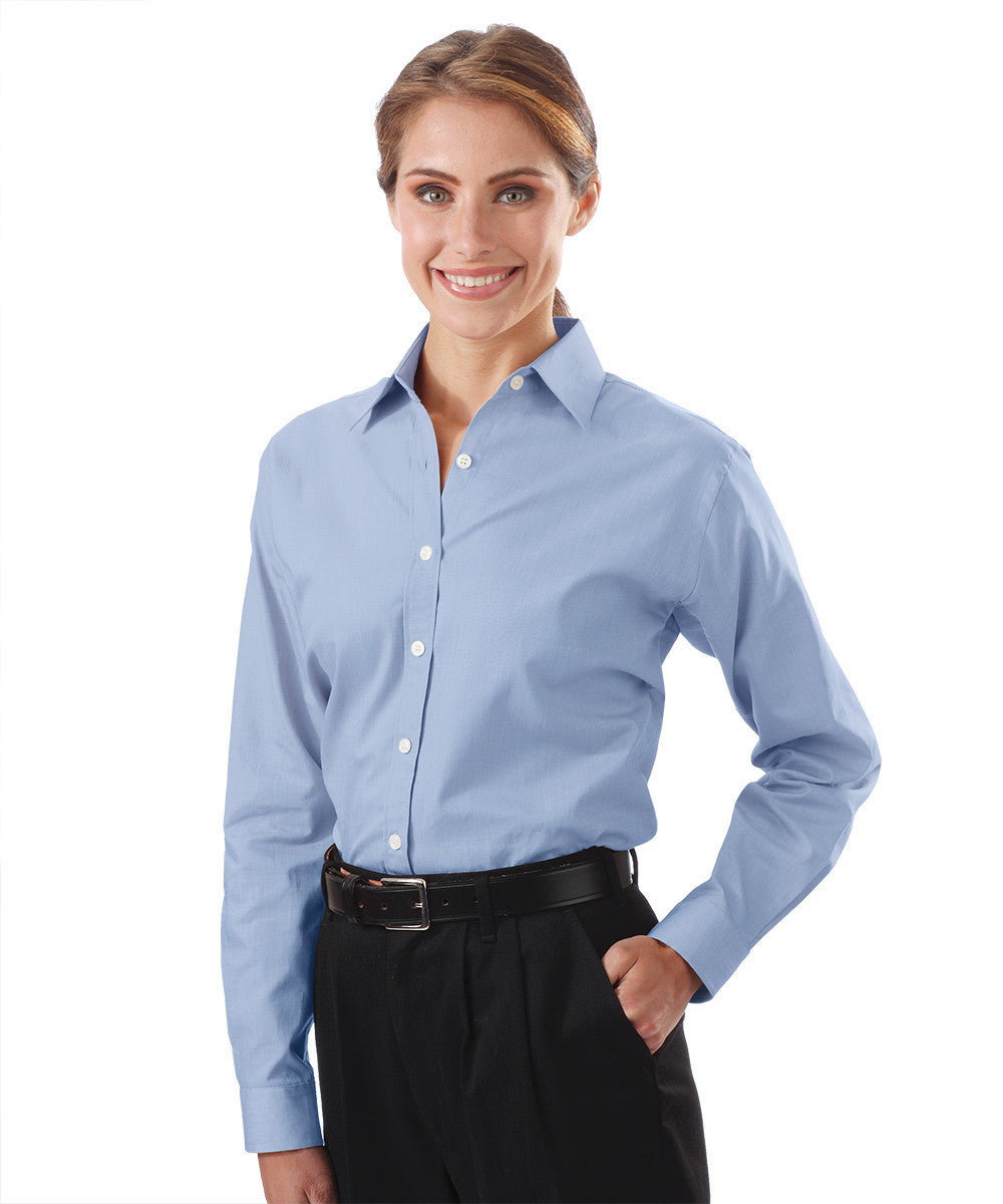 Light Blue Women's Pinpoint Dress Shirts Shown in UniFirst Uniform Rental Service Catalog