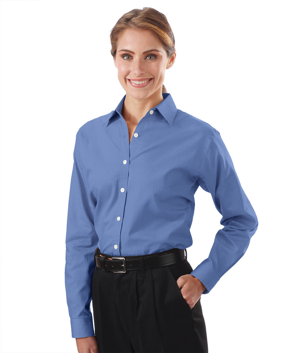 French Blue Women's Pinpoint Dress Shirts Shown in UniFirst Uniform Rental Service Catalog