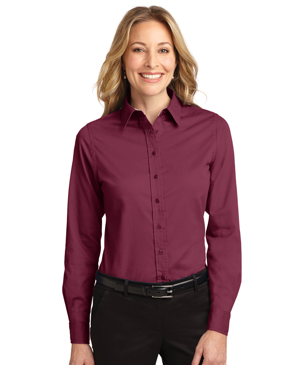 Women's Short Sleeve Easy Care Shirts (Burgundy) as shown in the UniFirst Uniform Rental Catalog
