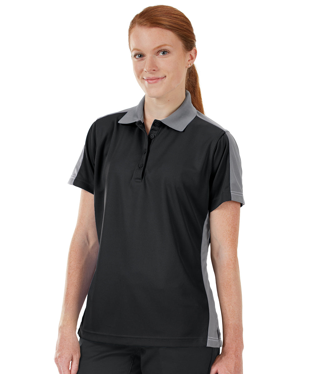 Women's Performance Knit® Short Sleeve Two-Tone Polos (Black/Grey) as shown in the UniFirst Rental Catalog.