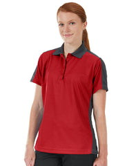 Women's Performance Knit® Short Sleeve Two-Tone Polos (Red/Charcoal) as shown in the UniFirst Rental Catalog.