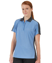 Women's Performance Knit® Short Sleeve Two-Tone Polos (Blue/Charcoal) as shown in the UniFirst Rental Catalog.