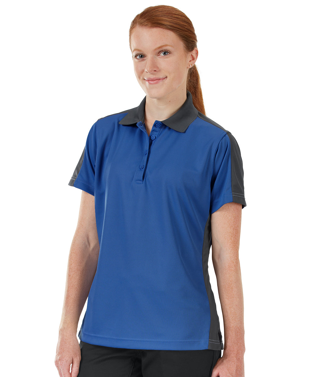 Women's Performance Knit® Short Sleeve Two-Tone Polos (Royal/Charcoal) as shown in the UniFirst Rental Catalog.