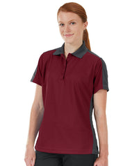 Women's Performance Knit® Short Sleeve Two-Tone Polos (Burgundy/Charcoal) as shown in the UniFirst Rental Catalog.