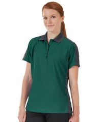 Women's Performance Knit® Short Sleeve Two-Tone Polos (Dk. Green/Charcoal) as shown in the UniFirst Rental Catalog.