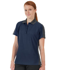 Women's Performance Knit® Short Sleeve Two-Tone Polos (Navy/Charcoal) as shown in the UniFirst Rental Catalog.