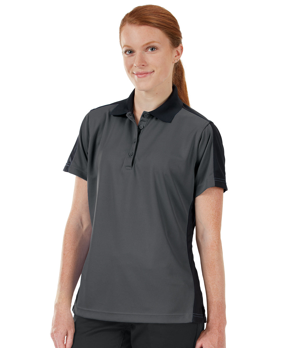 Women's Performance Knit® Short Sleeve Two-Tone Polos (Charcoal/Black) as shown in the UniFirst Rental Catalog.