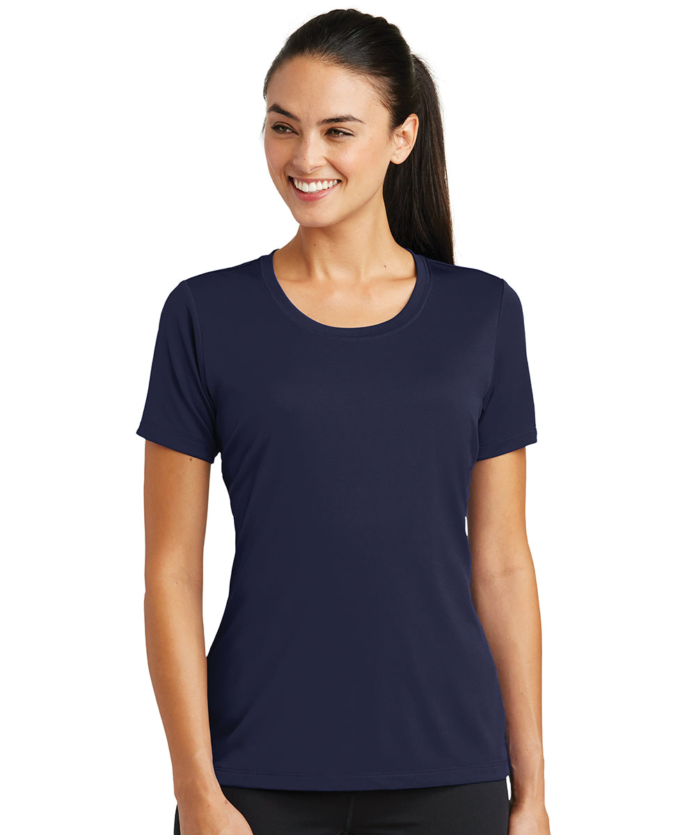 Women's Sport-Tek® PosiCharge® Tough Tees™ T-Shirt (Navy) as shown in the UniFirst Uniform Rental Catalog