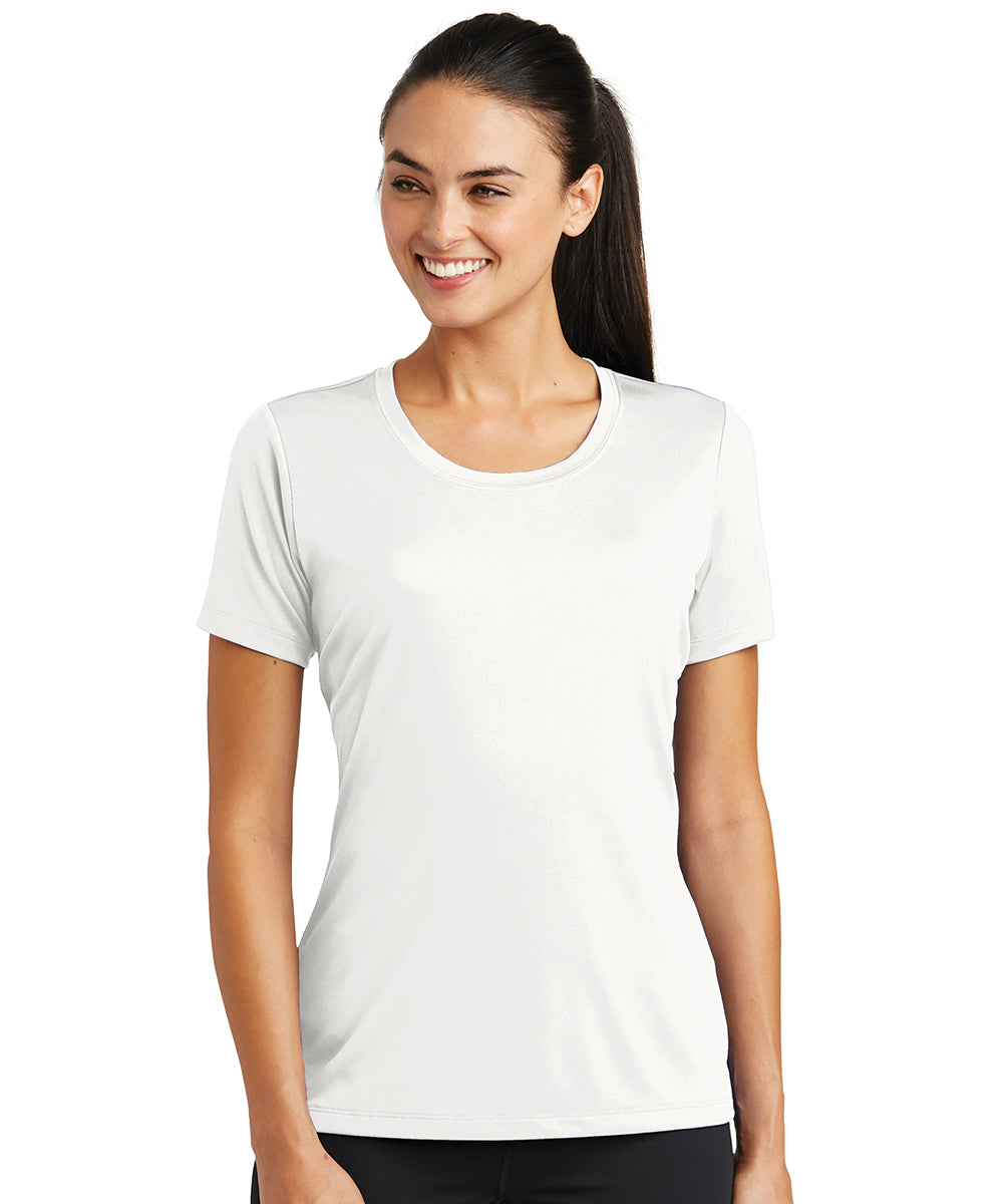 Women's Sport-Tek® PosiCharge® Tough Tees™ T-Shirt (White) as shown in the UniFirst Uniform Rental Catalog