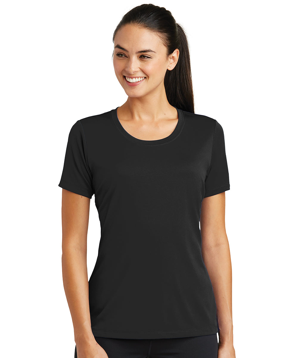Women's Sport-Tek® PosiCharge® Tough Tees™ T-Shirt (Black) as shown in the UniFirst Uniform Rental Catalog