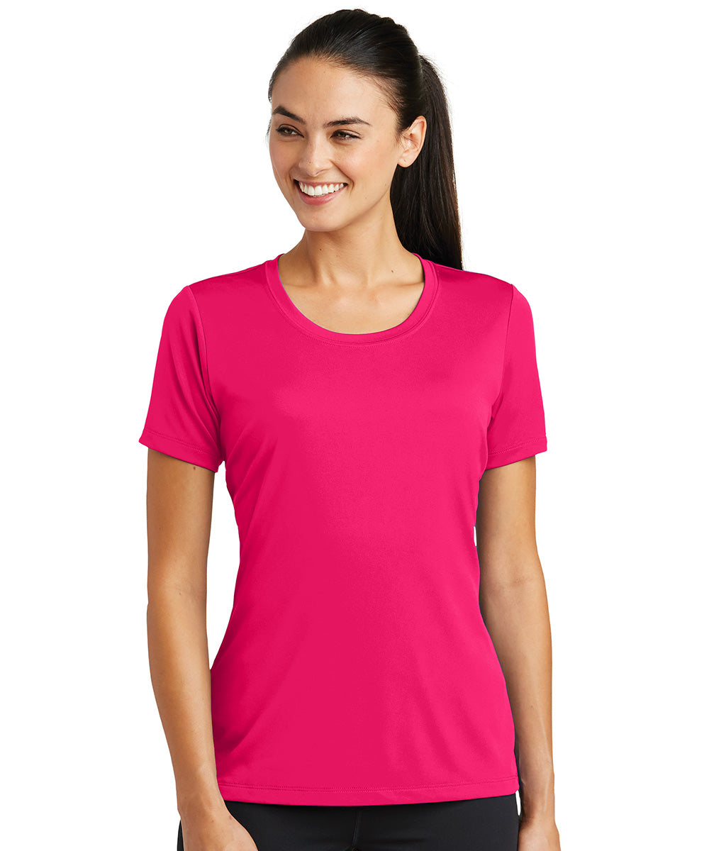 Women's Sport-Tek® PosiCharge® Tough Tees™ T-Shirt (Raspberry) as shown in the UniFirst Uniform Rental Catalog