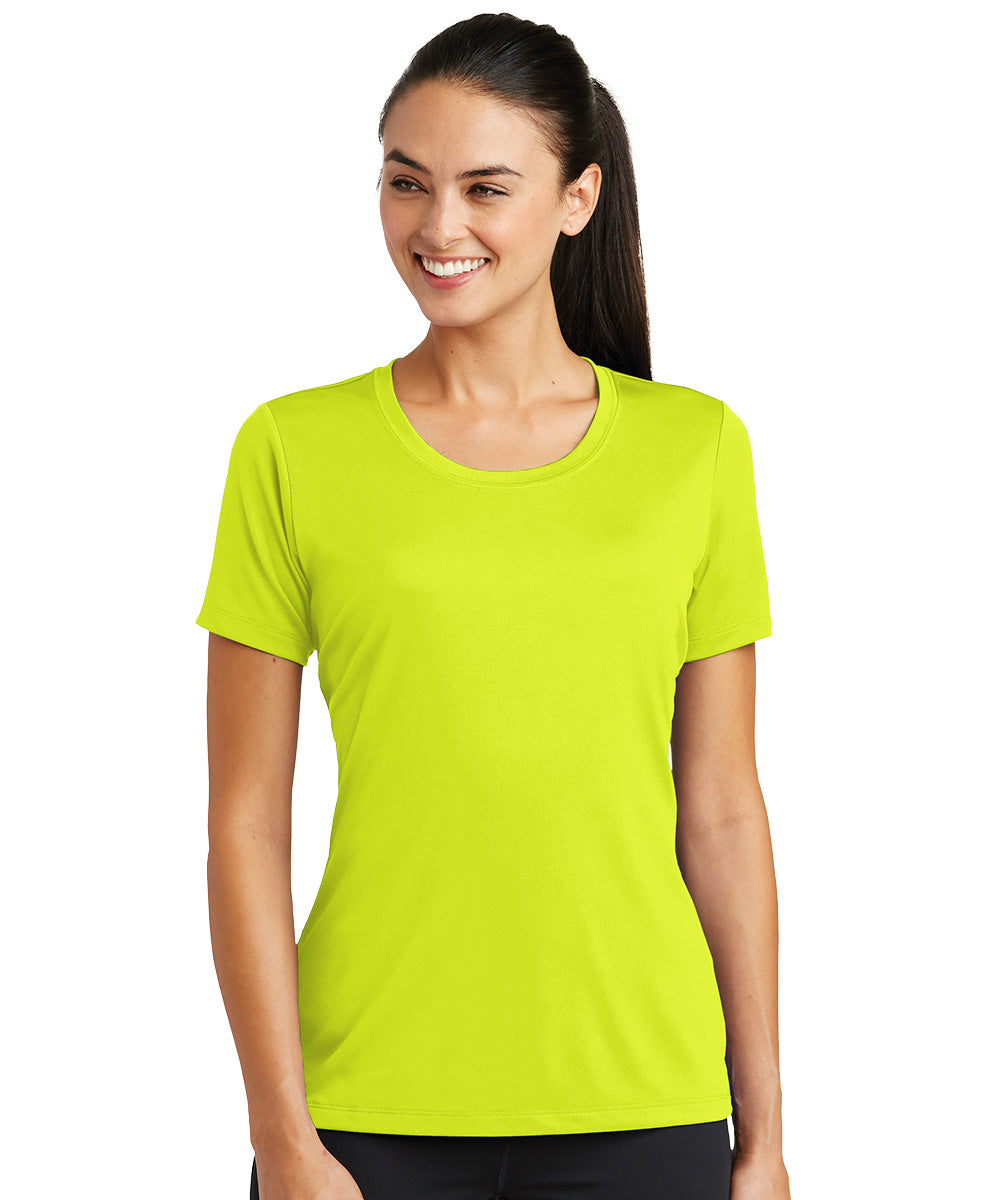 Women's Sport-Tek® PosiCharge® Tough Tees™ T-Shirt (Fluorescent Yellow) as shown in the UniFirst Uniform Rental Catalog