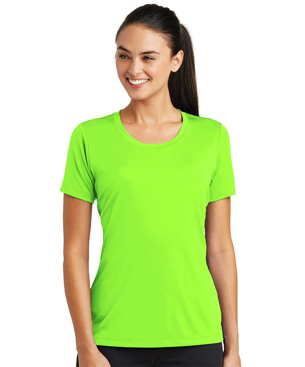 Women's Sport-Tek® PosiCharge® Tough Tees™ T-Shirt (Neon Green) as shown in the UniFirst Uniform Rental Catalog