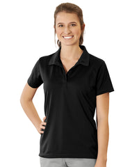 Women's UniSport™ Micropiqué Polos (Black) Shown in UniFirst Uniform Rental Service Catalog