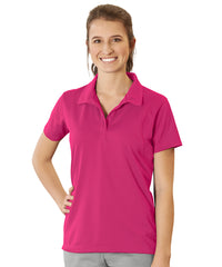 Women's UniSport™ Micropiqué Polos (Raspberry) Shown in UniFirst Uniform Rental Service Catalog