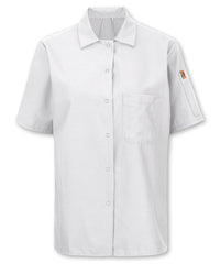 Women's Mimix™ OIlBlok™ Cook Shirt (white) as shown in the UniFirst rental catalog